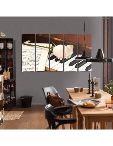Composition de 5 tableaux PIANO imprimé sur toile - par Feeby
