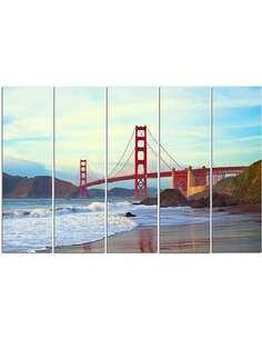 Composition de 5 tableaux LE GOLDEN GATE BRIDGE imprimé sur toile - par Feeby