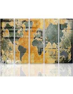 Composition de 5 tableaux CARTE DU MONDE EN GRAPHITE imprimé sur toile - par Feeby