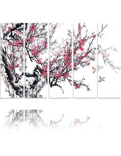 Composition de 5 tableaux CERISE JAPONAISE imprimé sur toile - par Feeby