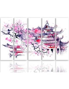 Composition de 5 tableaux PAYSAGE JAPONAIS imprimé sur toile - par Feeby