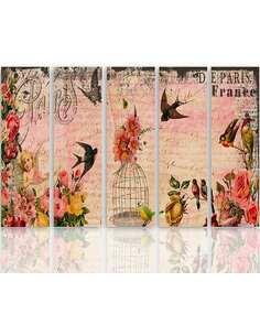 Composition de 5 tableaux C CARTE PARIS imprimé sur toile - par Feeby
