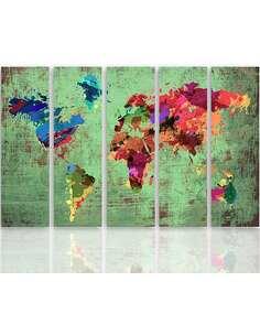Composition de 5 tableaux COULEUR CARTE DU MONDE 3 imprimé sur toile