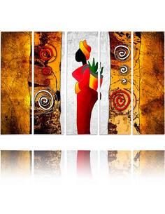 Composition de 5 tableaux DAME COULEUR imprimé sur toile - par Feeby