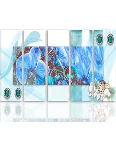 Composition de 5 tableaux ORCHIDÉE 2 imprimé sur toile - par Feeby