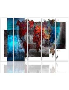 Composition de 5 tableaux AVEC UNE CARTE DU MONDE imprimé sur toile - par Feeby