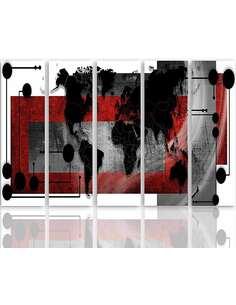 Composition de 5 tableaux 1 AVEC UNE CARTE DU MONDE imprimé sur toile - par Feeby