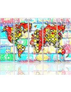 Composition de 5 tableaux AVEC UNE CARTE DU MONDE 2 imprimé sur toile - par Feeby