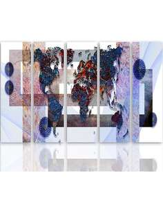 Composition de 5 tableaux CARTE DU MONDE 3 imprimé sur toile