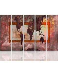 Composition de 5 tableaux CARTE DU MONDE 5 imprimé sur toile