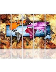 Composition de 5 tableaux CARTE DU MONDE 6 imprimé sur toile