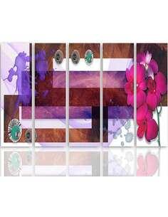 Composition de 5 tableaux LA DE L'ORCHIDÉE MARAIS imprimé sur toile - par Feeby