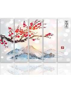 Composition de 5 tableaux PAYSAGE JAPON 4 imprimé sur toile - par Feeby