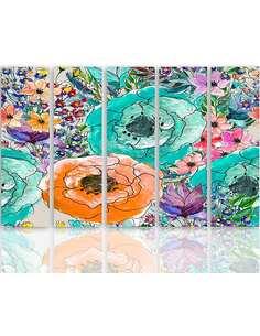 Composition de 5 tableaux FLORALE 2 imprimé sur toile - par Feeby