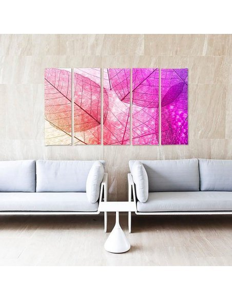 Composition de 5 tableaux FEUILLES ROSE imprimé sur toile - par Feeby