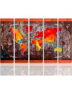 Composition de 5 tableaux LE CARTE DU MONDE imprimé sur toile - par Feeby