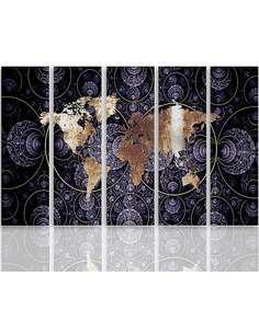 Composition de 5 tableaux CARTE DU MONDE ABSTRACTION imprimé sur toile - par Feeby