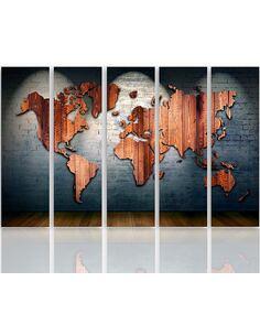 Composition de 5 tableaux LE CARTE DU MONDE CONSEILS imprimé sur toile - par Feeby