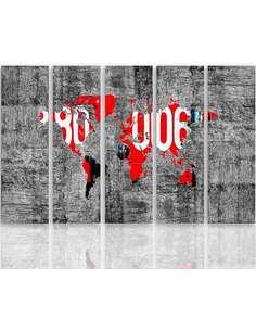 Composition de 5 tableaux CARTE DU MONDE SUR LE MUR imprimé sur toile - par Feeby
