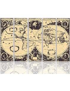Composition de 5 tableaux CARTE VINTAGE DU MONDE imprimé sur toile - par Feeby
