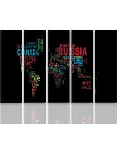 Composition de 5 tableaux CARTE DU MONDE AVEC DES SOUS-TITRES imprimé sur toile - par Feeby