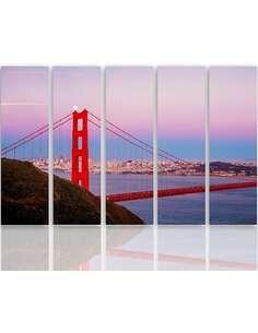 Composition de 5 tableaux GOLDEN GATE BRIDGE 3 imprimé sur toile - par Feeby