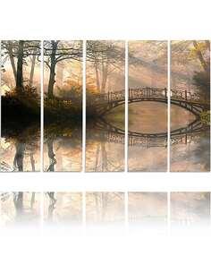 Composition de 5 tableaux PONT DE DANS LE PARC imprimé sur toile - par Feeby