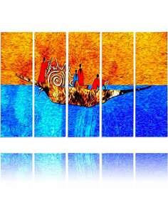 Composition de 5 tableaux LE SUR LE BATEAU imprimé sur toile - par Feeby
