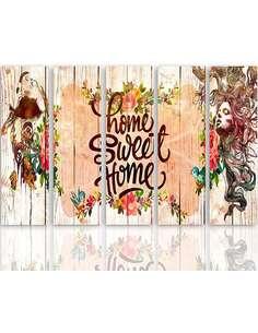 Composition de 5 tableaux INSCRIPTION HOME SWEET HOME imprimé sur toile - par Feeby