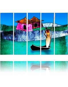 Composition de 5 tableaux BATEAU MME imprimé sur toile - par Feeby