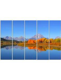 Composition de 5 tableaux PARC NATIONAL DE GRAND TETON imprimé sur toile - par Feeby