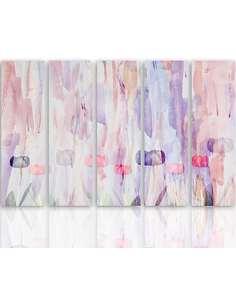 Composition de 5 tableaux 1 PASTEL RÉSUMÉ imprimé sur toile - par Feeby