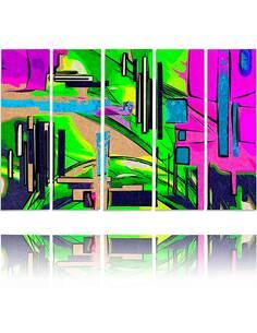 Composition de 5 tableaux PAYSAGE ABSTRAIT 1 imprimé sur toile - par Feeby