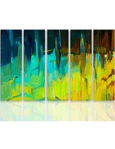 Composition de 5 tableaux ABSTRAIT PAYSAGE 2 imprimé sur toile - par Feeby