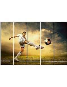 Composition de 5 tableaux LE TIR DE FOOTBALL VOLÉES imprimé sur toile - par Feeby