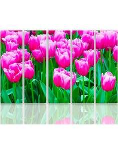 Composition de 5 tableaux TULIPES ROSES 1 imprimé sur toile - par Feeby