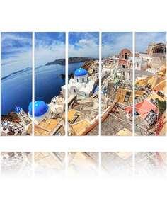 Composition de 5 tableaux SANTORINI HDR imprimé sur toile - par Feeby