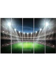 Composition de 5 tableaux UN STADE DE FOOTBALL À L'HONNEUR imprimé sur toile - par Feeby