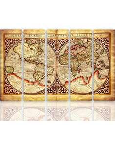 Composition de 5 tableaux VIEILLE CARTE DU MONDE imprimé sur toile - par Feeby