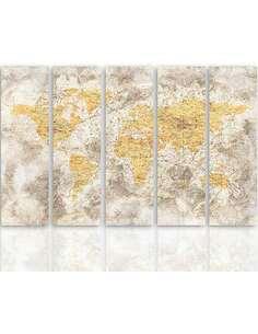 Composition de 5 tableaux CARTE DE VIEUX MONDE 3 imprimé sur toile