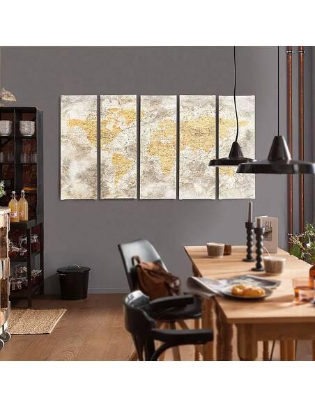 Composition de 5 tableaux CARTE DE VIEUX MONDE 3 imprimé sur toile - par Feeby