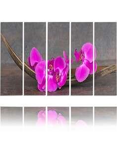 Composition de 5 tableaux ORCHIDÉES ROSES imprimé sur toile - par Feeby