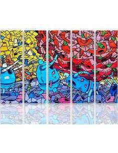 Composition de 5 tableaux STREET ART À BELFAST imprimé sur toile - par Feeby