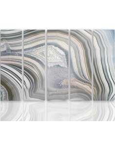 Composition de 5 tableaux ABSTRACTION GRIS imprimé sur toile - par Feeby