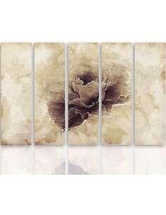 Composition de 5 tableaux FLEUR GRIS imprimé sur toile - par Feeby