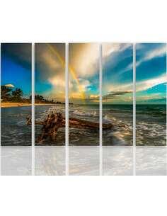 Composition de 5 tableaux ARC EN CIEL SUR LA PLAGE imprimé sur toile - par Feeby