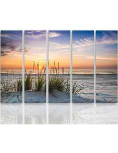 Composition de 5 tableaux L'HERBE SUR LA PLAGE imprimé sur toile - par Feeby