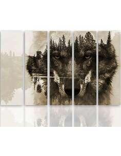 Composition de 5 tableaux L'ARRIÈRE-PLAN DE LA FORÊT DE LOUP BRUN imprimé sur toile - par Feeby