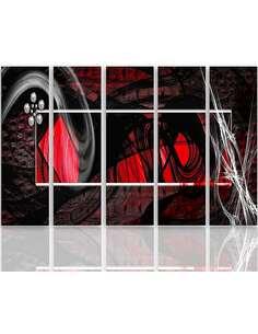 Composition de 5 tableaux INTÉRIEUR ABSTRACTION ROUGE imprimé sur toile - par Feeby