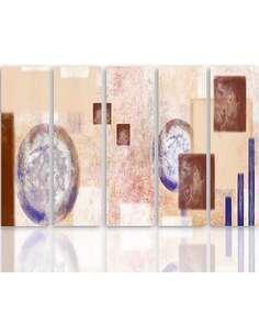 Composition de 5 tableaux INTÉRIEUR 2 imprimé sur toile - par Feeby